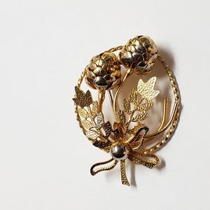 Vintage Gold & Silver Pinecone Wreath Pin, Gifts